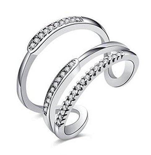 3-schicht-hochzeits-ring (Boowhol Damen-Ring 925 Sterling Silber Trauringe Ringöffnung Diamant Ring Verstellbar Verlobungsring Hochzeit Ringe Zirkonia Kristall zum Jahrestag Verlobung drei Schichten Ring (Silber))