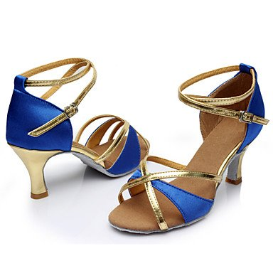 XIAMUO Anpassbare Damen Tanzschuhe Latein/Dance Sneakers Kunstleder angepasste Ferse Schwarz/Blau/Braun/Rot Rot