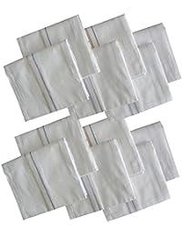 S4S® Men's 100% Cotton Supreme Collection Handkerchiefs - Pack of 12 (White Striped_46X46 CM)