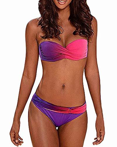 KISSLACE Bikini Damen Set Bandeau Bikini Sexy Push up Grosse Grössen Badeanzüge mit Slip Geraffte Bademode Rot+Blau L Vintage Slip