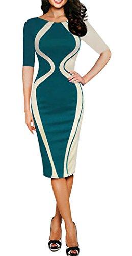 YOGLY Damen Abendkleid Elegant V-Ausschnitt Kleid Spitzen 3/4 Arm Wickelkleid Cocktailkleid Grün