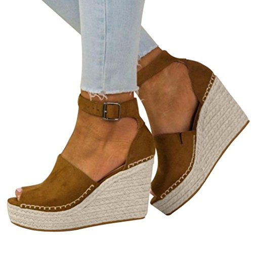 Sandalen Damen,Sannysis Damenmode Stumpfe Polnische Sewing Peep Toe Wedges Hasp Sandalen Flatform Schuhe Sweet High Heels (35, Braun) (Slouchy Stiefel Wildleder Schnalle)