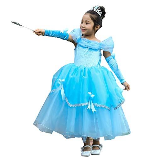 OwlFay Kinder Mädchen Aurora Belle Aschenputtel Sofia Rapunzel Kostüm Prinzessin Kleid mit Armmanschette Märchen Cosplay Festlich Karnerval Halloween Weihnachten Geburtstag Partykleid Kleidung (Rapunzel Kleid Tangled)