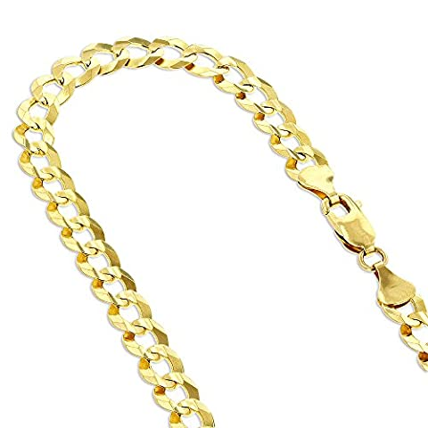 Solid 10K Yellow Gold Italy Cuban Curb Link Chain Necklace