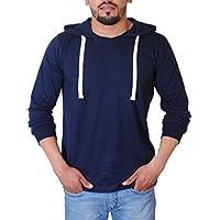 Trinity Men's Full Sleeves Hooded Blue T-shirt Medium