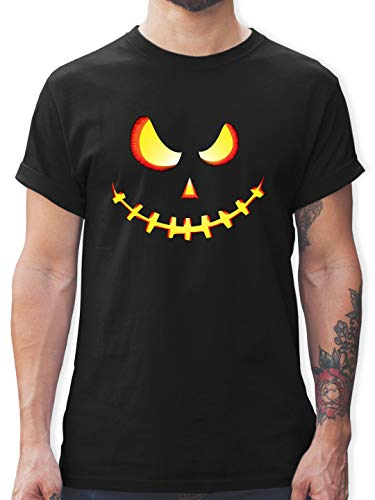 Halloween - Gruseliges Kürbis-Gesicht - M - Schwarz - L190 - Herren T-Shirt und Männer Tshirt