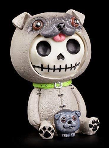 Furrybones Figur | Pug im Hunde Kostüm | inkl. Geschenkbox für Sammler | Lustige Deko Totenkopf Gesicht