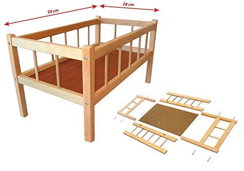 Rappa Wunderschönes, großes Puppenbett aus Holz Naturholz - 50 cm Länge