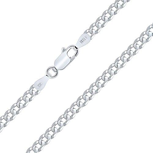 Planetys Flache Panzerkette Diamant Schnitt 925 Sterling Silber Rhodiniert Kette - Halskette - 3.30 mm Breite Längen: 45 cm