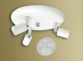 3Way Triple spot rond Tête de barre de montage plafonnier avec tête réglable GU10en blanc