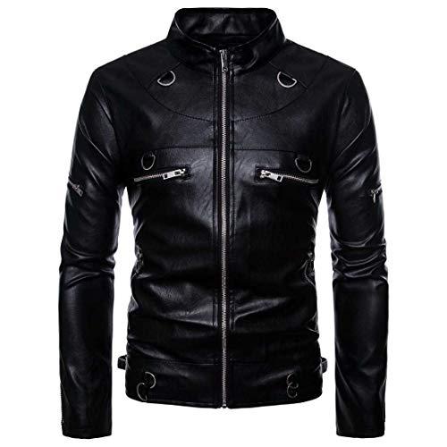 Mallfun giacca in pelle pu da uomo cerniera in similpelle in similpelle cappotto in pelle casual capispalla casual (color : black, size : s)