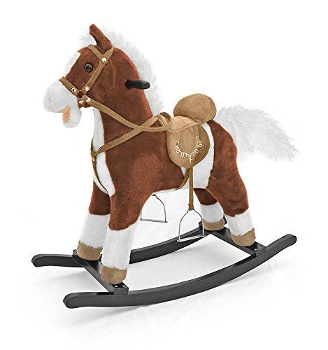 Milly Mally 5907717434157–Mecedora Caballo Balancín de juguete con efectos de sonido oso de peluche, color blanco
