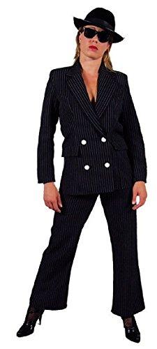 narrenkiste M207125-XL-A schwarz Damen Gangster Kostüm-Anzug Gangsterbraut Gr.XL