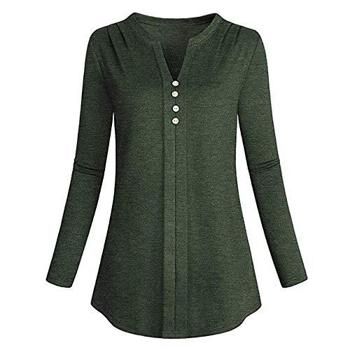 iYmitz Damen Solide Langarm Knopf Bluse Pullover Tops Shirt Mit Taschen(X10-Grün,EU-46/CN-2XL)