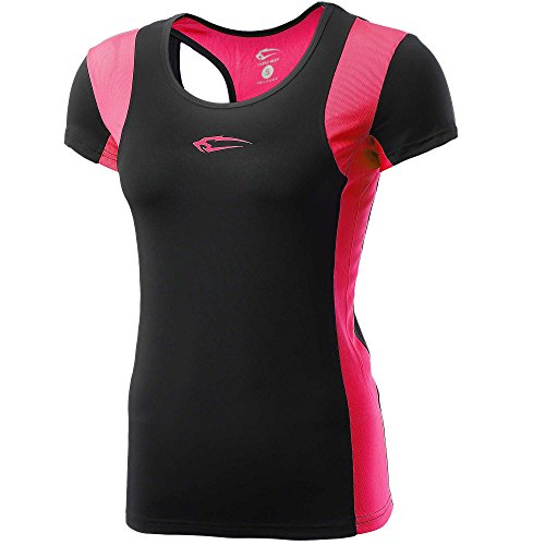 Mesh-muskel-shirt (SMILODOX Slim Fit T-Shirt Damen | Funktionsshirt für Sport Fitness Gym & Training | Kurzarm Trainingsshirt - Sportshirt mit Aufdruck - Laufshirt Kurz , Größe:XS, Farbe:Black/Neon Rose)