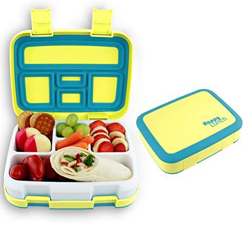LiCocina® Bento Box I Kinder Lunchbox I Brotdose 5 Unterteilungen (Fächer) I Spülmaschinengeeignet I Mikrowellengeeignet I BPA Schadstofffrei I Geruchs- und Geschmacksneutral (Gelb)