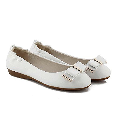 VogueZone009 Damen Ziehen Auf Rund Zehe Niedriger Absatz Pu Leder Eingelegt Pumps Schuhe Weiß