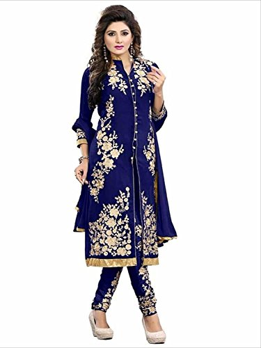 SUNSHINE Blue Color Georgette Fabric Embroidery Salwar - suit(Semi-Stitched)( New Arrival Latest Best Design Beautiful Dresses Material Collection For Women and Girl Party wear Festival wear Special Function Events Wear In Low Price With High Demand Todays Special Offer and Deals with Fancy Designer and Bollywood Collection 2017 Punjabi Anarkali Chudidar Patialas Plazo pattern Suits )  available at amazon for Rs.695