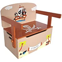 Kiddi Style Children's Pirate Wooden Convertible Toy Box