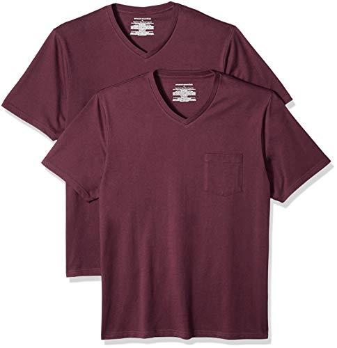 Amazon Essentials 2-Pack Regular-Fit V-Neck Pocket T-Shirt, Rot (Burgundy Bur), US M (EU M) (Pocket T-shirts Für Männer)