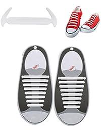 Tagvo sin corbata Cordones de zapatos, Cordones de zapato de silicona planas perezoso para adultos - impermeable, fácil de limpiar (2 pares negro)