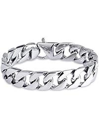 Felix Perry cadena Link para hombre y correa de acero inoxidable de plata y pulido de alta 22,2 cm