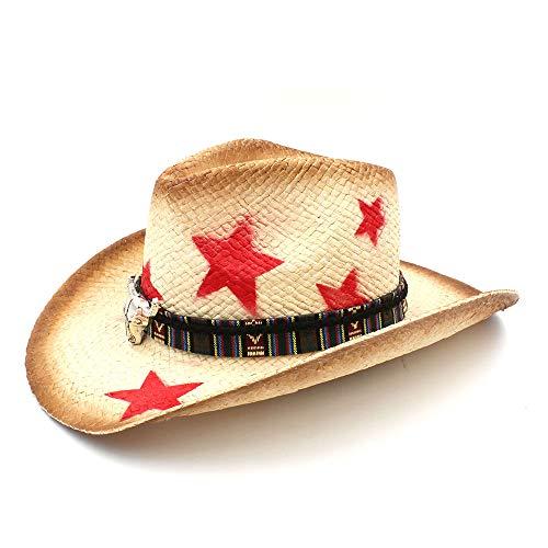 Westlicher Hut mit breiter Krempe Frauen Männer Stroh Western Cowboyhut Mit Böhmen Stierkopf Band Star Lady Sombrero Hombre Cowgirl Jazz Caps Kostüm-Zusatz-Cowgirl-Hüte (Jazz Kostüm Frauen)