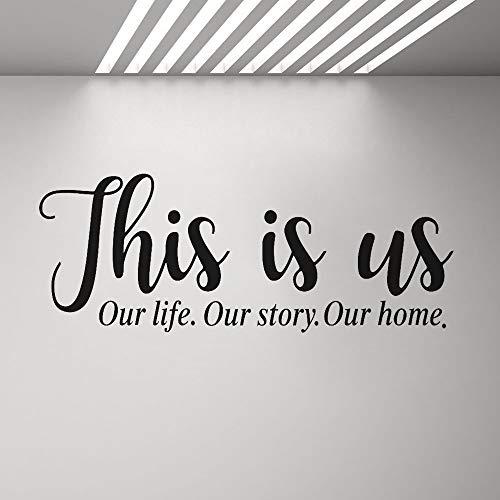 SLQUIET Dies ist unsere Familie Wandaufkleber Unsere Lebensgeschichte Kunstaufkleber Wohnkultur Wohnzimmer Schlafzimmer Eingang Vinyl Aufkleber Haus und Garten Wandaufkleber 24 braun 148x57 cm
