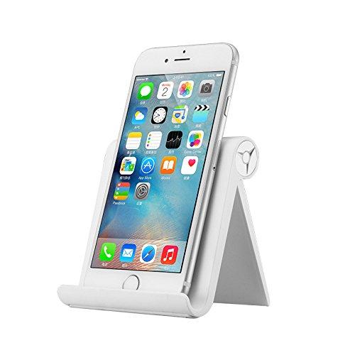 Supporto Cellulare Tablet da Tavolo, JCLIVETEK Stand Multi-Angolo Pieghevole Phone Holder per Cellulare, iPhone, iPad, Smartphone, Tablet, Bianco