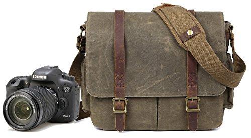 DSLR - Bolso bandolera para cámara de fotos (impermeable, lona vintag