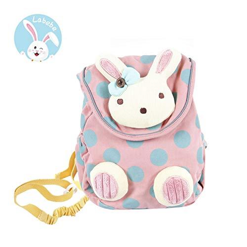 Labebe borsa bambini piccoli bambina, zaino bambini di coniglietto rosa con cintura anti-perso,zaino bambini piccoli/zaino scuola bambini