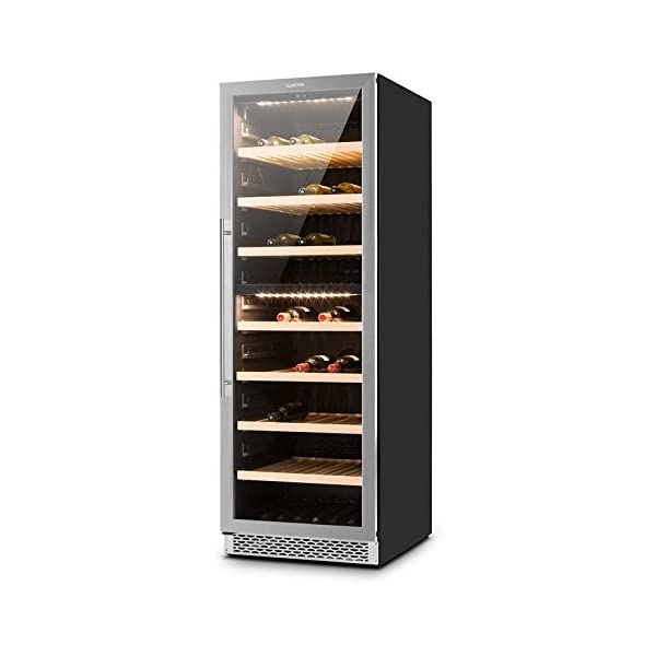 Klarstein Gran Reserva • Wine Cooler • Range of 5 to 20 ° C • Stainless Steel • 2 Cooling Zones • LED • 379 L • Double Insulated Glass Door • 166 Bottles • Control Touch • 7 Shelves • Black-Silver 41zsmze9DNL