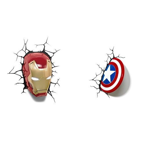 """Marvel 3D Led Light Ironman Mask + Marvel """"Captain America"""" Shield 3D LED Light"""