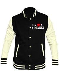 I Love Gymnastics Black and White Varsity Letterman Jacket 5-15 Years