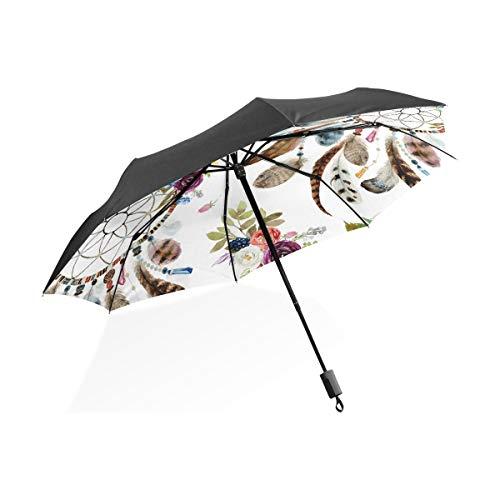 Paraguas personalizar 3 pliegues Flor Pluma Atrapasueños A prueba de viento Ligero Anti-UV