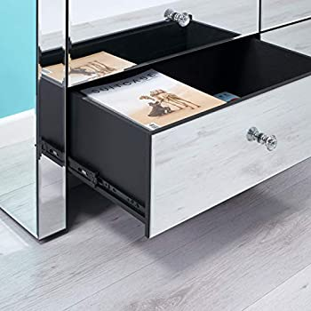 LOD Lifestyle on Demand 6 Drawer Mirrored Chest Drawers - Large Drawers With Beautiful Crystal Effect Handles - Delivered Free Into Any Room In The Home