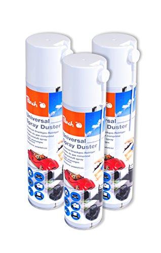 Peach Universal Druckluftreiniger PA100, 400 ml, 3 Stück | präzise, dank Sprühkopfverlängerung | ideal für die Reinigung im Haushalt und Büro | auch für empfindliche Geräte | H-FCKW / FCKW - frei | Made in Germany
