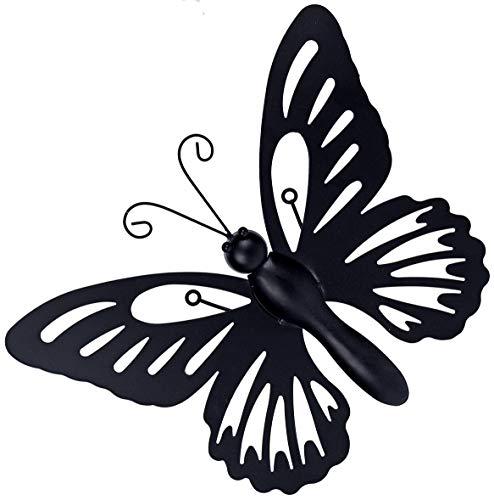 matrasa Schmetterling aus Metall zur Wandmontage - 32 x 26 cm - Butterfly Hauswand Dekoration schwarz