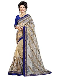 Glamify Women's Net Embroidered Saree With Unstitched Blouse Piece (Beige_Free Size)