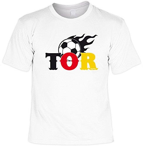 Spaß/Fun-Shirt mit witzigem Fußball- Aufdruck: TOR - lustiges Geschenk Weiß