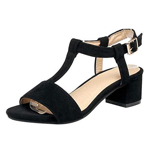 BeiaMina Donna Scarpe Elegante con Cinturino A T Sandali Tacco A Blocco Sandali Tacco Medio Estate Scarpe Black Numero 34 Asiatico