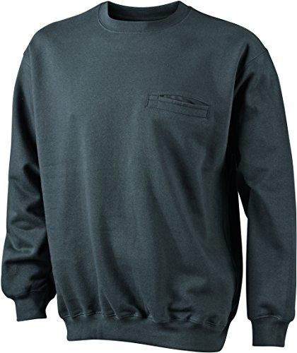 James & Nicholson Herren Round Sweat Pocket Sweatshirt Grau (Graphite)