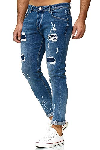 Red Bridge Herren Jeans Hose Regular-Fit Ripped Frayed Destroyed Blau W32 L32