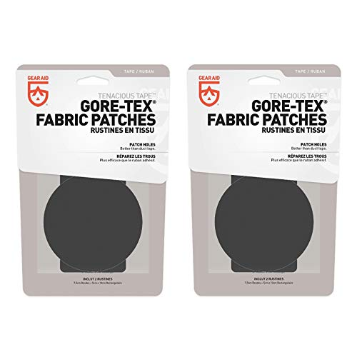 Gear Aid Tenacious Tape Gore-TEX Fabric Repair Kit Black Gear Patches (2-Pack) -