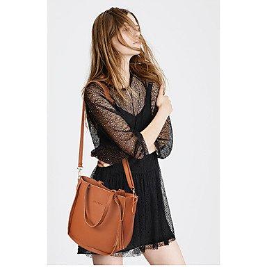 Donne Borsa a tracolla PU All Seasons Evento Casuale/Festa Shopper rivetto Zipper grigio marrone pallido rosa Ruby nero,marrone Black