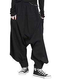 ELLAZHU Women Fashion Elastic Waist Black Drop Crotch Casual Harem Pants GY1541 A