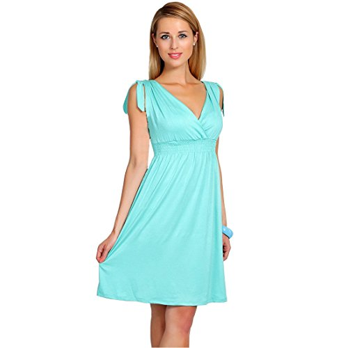 (iHAIPI - Damen Kurzärmel Sommerkleid V-Ausschnitt Business Faltenrock Cocktailkleid retro 50er Jahre Kleid (03. Large, 10. Licht Himmel Blau))