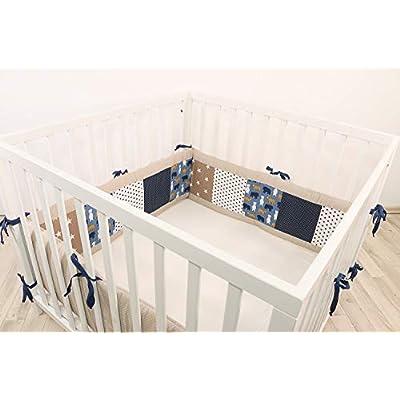 ULLENBOOM® Bumper- Sand Bear (400x 30cm Baby playpen Bumper, Full Surround Bumper Pads for 100x 100cm playpen)