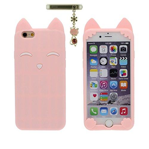 Apple iPhone 6 6S Coque 4.7 inch Case Charmant Animal Renard Sourire Forme Serie Doux Silicone Mince Poids léger Etui avec 1 Métal pendentif rose