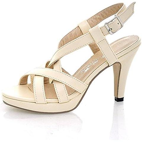 Mine Tom Mujer Chicas Verano Sandalias De Tacón Alto Sandalias De Gladiador Correas Cruzadas Peep Toe Zapatos